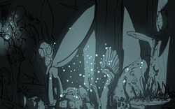 Size: 1280x800 | Tagged: safe, artist:whydomenhavenipples, firefly, oc, oc only, insect, mothpony, original species, pony, cave, dark, female, forest, gas mask, glow, limited palette, mare, moth pony general, mouth hold, solo