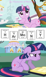 Size: 470x780 | Tagged: safe, edit, edited screencap, screencap, twilight sparkle, pony, unicorn, friendship is magic, argon, book, caption, chemistry, chemistry joke, element of generosity, element of honesty, element of kindness, element of laughter, element of loyalty, element of magic, elements of harmony, female, floppy ears, frown, glare, grumpy, hydrogen, mare, molybdenum, nitrogen, pun, raised eyebrow, science, thinking, twilight is not amused, unamused, yttrium