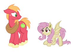 Size: 1536x1165   Tagged: safe, artist:kp-shadowsquirrel, artist:paulyvectors, big macintosh, fluttershy, bat pony, pony, bats!, female, floppy ears, flutterbat, fluttermac, frown, licking lips, male, race swap, raised leg, shipping, simple background, smiling, spread wings, straight, transparent background, vector
