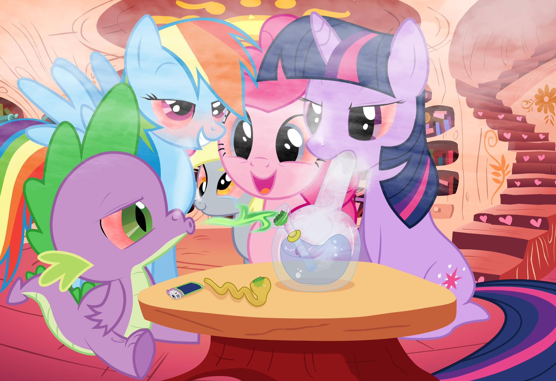 Lighter Mare Marijuana Pegasus Pinkie Pie Pipe Pony Rainbow Dash Safe Smoke Spike Twilight Sparkle