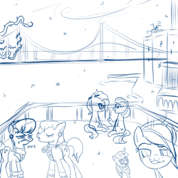Size: 600x600 | Tagged: artist:hudoyjnik, artist:synch-anon, black vine, bridge, coco pommel, glasses, grace manewitz, ms. harshwhinny, pencil, prim hemline, safe, sketch, smugdash, snow, snowfall, snowflake, twilight scepter
