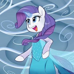 Size: 700x700 | Tagged: safe, artist:jessy, rarity, pony, unicorn, bipedal, clothes, crossover, dress, elsa, female, frozen (movie), mare, open mouth, queen elsarity, singing, solo