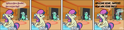 Size: 1280x313 | Tagged: safe, artist:skatoonist, bon bon, lyra heartstrings, sweetie drops, bon bon is not amused, comic, female, heart, lesbian, lyra is not amused, lyrabon, mare of a thousand voices, shipping