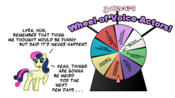 Size: 800x450 | Tagged: safe, artist:feather, bon bon, sweetie drops, implied lyra, mare of a thousand voices, morgan freeman, voice actor
