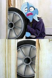 Size: 400x600 | Tagged: safe, trixie, parody, scared, the shining, wheel, wheels trixie