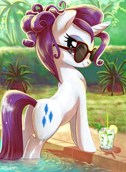 Size: 1299x1771 | Tagged: safe, artist:yulyeen, rarity, pony, unicorn, adorasexy, alcohol, alternate hairstyle, bedroom eyes, cute, drink, female, glass, lemon, looking at you, looking back, mare, mojito, palm tree, plant, plot, poolside, rearity, sexy, smiling, solo, straw, stupid sexy rarity, sultry pose, sunglasses, swimming pool, tree, water, wet
