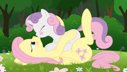 Size: 1920x1080 | Tagged: safe, artist:dontworryaboutitkid, fluttershy, sweetie belle, pegasus, pony, unicorn, age difference, bedroom eyes, blushing, bush, explicit source, eyes closed, fallen angels, fanfic art, fanfic cover, female, filly, flower, flutterbelle, grass, kissing, lesbian, mare, meadow, on back, on top, outdoors, shipping, show accurate, tree