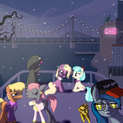 Size: 1200x1200 | Tagged: safe, artist:hudoyjnik, artist:synch-anon, coco pommel, grace manewitz, mane-iac, ms. harshwhinny, pinkie pie, prim hemline, bat pony, pony, baseball cap, black vine, bridge, city, cityscape, glasses, hat, night, smugdash, snow, snowfall, snowflake, top bat, top gun, twilight scepter