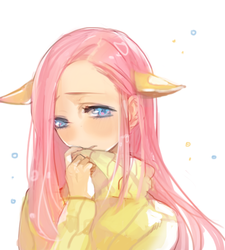 Size: 500x555 | Tagged: artist:geta, clothes, eared humanization, extra ear, fluttershy, four ears, human, humanized, light skin, pixiv, safe, solo, sweater, sweatershy