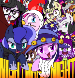 Size: 800x828   Tagged: dead source, safe, artist:30clock, apple bloom, derpy hooves, pinkie pie, pipsqueak, princess luna, rainbow dash, raven, scootaloo, spike, star swirl the bearded, sweetie belle, twilight sparkle, pegasus, pony, luna eclipsed, action poster, animal costume, chicken pie, chicken suit, clothes, costume, cutie mark crusaders, female, mare, nightmare night, paper bag wizard, pixiv, shadowbolt dash, shadowbolts costume