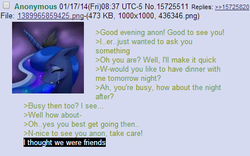 Size: 435x272 | Tagged: safe, princess luna, /mlp/, 4chan, 4chan screencap, anon in equestria, greentext, meta, rejection, rejection is magic, sad, text