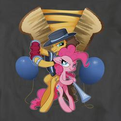 Size: 501x501 | Tagged: safe, cheese sandwich, pinkie pie, earth pony, pony, pinkie pride, accordion, balloon, bipedal, cutie mark background, duo, female, looking at each other, male, mare, musical instrument, serious, serious face, stallion, vuvuzela, welovefine