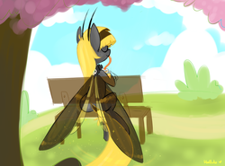 Size: 900x665 | Tagged: safe, artist:meekcheep, oc, oc only, oc:hexferry, mothpony, original species, behind, bench, drinking, eyes closed, moth pony general, outdoors, plot, proboscis, sitting, solo, tentacle tongue, tongue out