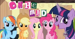 Size: 1334x687 | Tagged: safe, applejack, fluttershy, pinkie pie, rainbow dash, twilight sparkle, alicorn, pony, expand dong, female, grin, hub logo, mare, meme, open mouth, smiling, smirk, twilight sparkle (alicorn), u mad