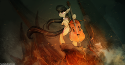 Size: 1400x734 | Tagged: safe, artist:foxinshadow, octavia melody, earth pony, pony, badass, bipedal, cello, female, musical instrument, solo