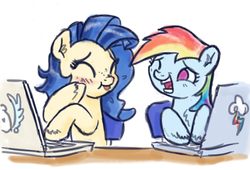 Size: 800x543 | Tagged: safe, artist:king-kakapo, rainbow dash, oc, oc:milky way, pony, /mlp/, computer, female, giggling, laptop computer, laughing, mare, table, trolling