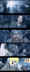 Size: 780x1834 | Tagged: safe, edit, derpy hooves, human, rainbow falls, aragorn, comic, flag, gandalf, gandalf the white, gimli, irl, irl human, legolas, lord of the rings, photo, the grey one's glorious return, the two towers