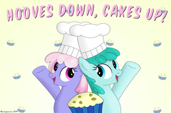 Size: 2553x1693   Tagged: safe, artist:bluemeganium, rainbowshine, spring melody, sprinkle medley, rainbow falls, chef's hat, duo, happy, hat, muffin, sprinkleshine, text