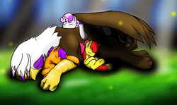 Size: 2173x1295 | Tagged: safe, artist:0particle, apple bloom, gilda, scootaloo, sweetie belle, earth pony, griffon, pegasus, pony, unicorn, crepuscular rays, cuddling, cute, cutie mark crusaders, eyes closed, fluffy, grass, hug, on back, on side, prone, shade, size difference, sleeping, snuggling, spread wings, underhoof, winghug