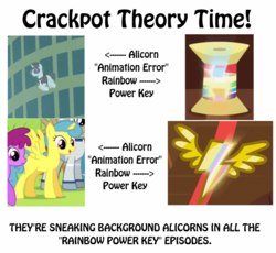 Size: 800x736 | Tagged: alicorn, animation error, background pony, edit, edited screencap, everyone is an alicorn, image macro, insane fan theory, lemoncorn, lemon hearts, meme, neoncorn, neon lights, pony, rainbow falls, rainbow of harmony, rainbow power, rainbow thread, rarity takes manehattan, rising star, safe, screencap, spot the alicorn, theory, wonderbolt badge