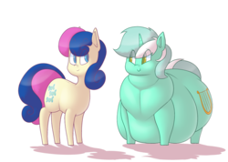 Size: 1174x836 | Tagged: safe, artist:secretgoombaman12345, bon bon, lyra heartstrings, sweetie drops, earth pony, pony, unicorn, belly, big belly, chubby cheeks, fat, feeder bon bon, female, lard-ra heartstrings, large butt, lesbian, looking at each other, lyra feedee, lyrabon, morbidly obese, obese, shipping, simple background, smiling, transparent background, weight gain