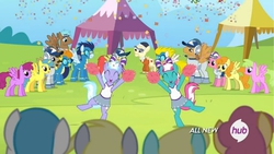 Size: 878x494 | Tagged: safe, screencap, berry punch, berryshine, blaze, carrot top, derpy hooves, dizzy twister, golden harvest, haymaker, juicy fruit, lemon hearts, lightning bolt, lilac sky, lily, lily valley, orange swirl, peachy swoop, rivet, sassaflash, soarin', spring step, sunlight spring, surprise, white lightning, alicorn, pegasus, pony, rainbow falls, alicornified, all new, animation error, background pony, cheerleader, female, lemoncorn, mare, missing cutie mark, not berry punch, race swap, spot the alicorn, text, unnamed pony