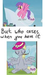 Size: 750x1200   Tagged: safe, derpy hooves, pegasus, pony, rainbow falls, season 4, background pony, female, fuchsia gems, mare, meme