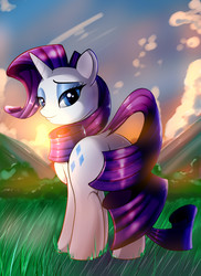 Size: 2400x3300 | Tagged: safe, artist:skyline19, rarity, unicorn, cloud, cloudy, covering, curly hair, cutie mark, dock, eyebrows, eyelashes, eyeshadow, grass, horn, looking back, makeup, plot, purple hair, sky, smiling, solo, sunset, tail covering, tree