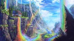Size: 1920x1080 | Tagged: safe, artist:assasinmonkey, bulk biceps, derpy hooves, spitfire, pegasus, pony, rainbow falls, cliff, cloud, female, mare, mountain, rainbow, river, scenery, scenery porn, tree, wallpaper, waterfall