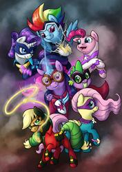 Size: 2100x2970 | Tagged: safe, artist:0riane0, applejack, fili-second, fluttershy, humdrum, masked matter-horn, mistress marevelous, pinkie pie, radiance, rainbow dash, rarity, saddle rager, spike, twilight sparkle, zapp, alicorn, pony, power ponies (episode), female, mane seven, mane six, mare, power ponies, twilight sparkle (alicorn)
