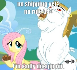 Size: 467x427 | Tagged: bulk biceps, female, flutterbulk, fluttershy, image macro, male, muffin, rainbow falls, safe, shipping, straight