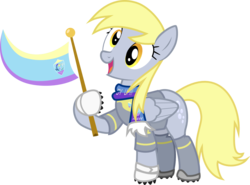 Size: 1487x1100 | Tagged: safe, artist:brisineo, derpy hooves, pegasus, pony, rainbow falls, /mlp/, 4chan cup, 4chan cup scarf, armor, clothes, female, giddy up, gloves, jersey, mare, safest hooves, scarf, short-sleeved goalkeeper jersey, solo, the grey one's glorious return