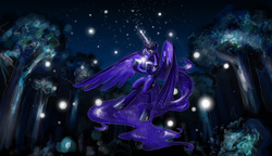 Size: 2995x1721 | Tagged: artist:naboolars, dark, firefly (insect), flying, forest, glow, night, princess luna, safe