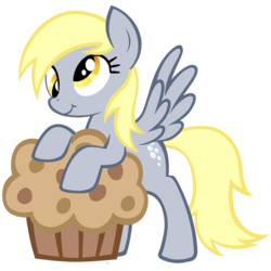 Size: 2911x2910 | Tagged: safe, artist:igriega13, derpy hooves, pegasus, pony, female, giant muffin, mare, muffin, solo