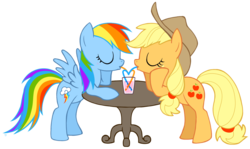 Size: 1415x842 | Tagged: appledash, applejack, artist:igriega13, blushing, female, heart, lesbian, rainbow dash, safe, shipping, straw