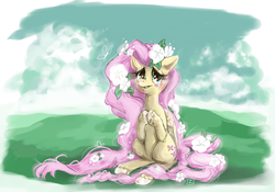 Size: 1556x1092 | Tagged: artist:vita-ex-machina, blushing, crying, flower, fluttershy, safe, solo