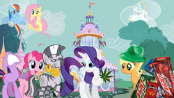 Size: 1920x1080 | Tagged: applejack, carousel boutique, crying, doritos, drugs, fluttershy, mane six, marijuana, monopoly, mountain dew, pinkie pie, rainbow dash, rarity, safe, twilight sparkle, wallpaper, zebra, zecora