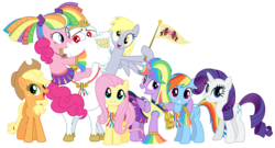 Size: 12000x6474 | Tagged: absurd res, alicorn, applejack, artist:masem, bulk biceps, cheerleader, cheerleader pinkie, cheerleader sparkle, derpy hooves, earth pony, female, flag, fluttershy, male, mane six, mare, medal, pegasus, pinkie pie, pony, ponyville flag, rainbow dash, rainbow falls, rarity, safe, simple background, stallion, transparent background, twilight sparkle, twilight sparkle (alicorn), unicorn, vector, wonderbolt badge