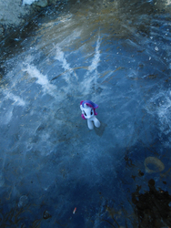 Size: 885x1180 | Tagged: artist:synch-anon, ice, irl, lake, photo, rarity, safe, toy