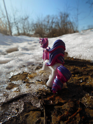 Size: 864x1152 | Tagged: artist:synch-anon, irl, photo, rarity, safe, sky, snow, toy, twilight sparkle