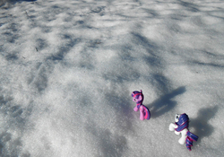 Size: 1358x950 | Tagged: artist:synch-anon, irl, photo, rarity, safe, snow, toy, twilight sparkle