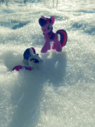 Size: 795x1060 | Tagged: artist:synch-anon, irl, photo, rarity, safe, snow, toy, twilight sparkle