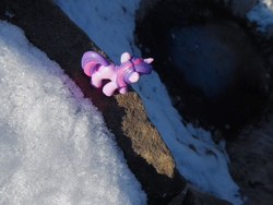 Size: 1521x1141 | Tagged: artist:synch-anon, ice, irl, lake, photo, rarity, safe, snow, toy, twilight sparkle