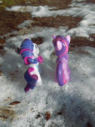 Size: 795x1060 | Tagged: artist:synch-anon, photo, rarity, safe, snow, toy, twilight sparkle, winter