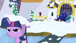 Size: 5500x3141 | Tagged: safe, artist:cpt-firespit, princess celestia, princess luna, twilight sparkle, clothes, scarf, snow, snowball, snowball fight, snowfall, twilight is not amused, unamused