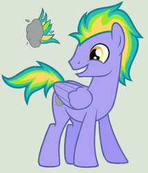 Size: 475x555 | Tagged: safe, artist:unoriginai, oc, oc only, oc:propane blast, pegasus, pony, cutie mark, grin, magical lesbian spawn, offspring, parent:rainbow dash, parent:spitfire, parents:spitdash, simple background, smiling, solo