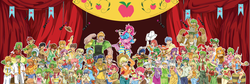 Size: 7250x2425 | Tagged: absurd res, apple bloom, apple bottom, apple brown betty, apple bumpkin, apple cider, apple cider (character), apple cinnamon, apple crumble, apple dumpling, apple family member, apple flora, apple fritter, apple honey, applejack, apple leaves, apple mint, apple rose, apple split, apple squash, apple tarty, artist:arteses-canvas, auntie applesauce, aunt orange, babs seed, big macintosh, bolo tie, braeburn, bushel, candy apples, caramel, caramel apple, cider, cleavage, clothes, dosie dough, everypony, female, fiddlesticks, front knot midriff, gala appleby, glasses, golden delicious, goldie delicious, granny smith, guitar, gun, half baked apple, harmonica, hayseed turnip truck, hoss, human, humanized, kazooie, liberty belle, light skin, microphone, midriff, moderate dark skin, musical instrument, no trigger discipline, perfect pie, pinkie apple pie, pinkie pie, pitch perfect, red delicious, red gala, red june, revolver, safe, sweet tooth, the oranges, uncle orange, wensley, winona