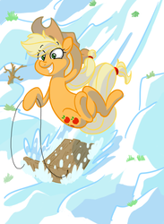 Size: 731x997 | Tagged: safe, artist:amazingbutterfingers, applejack, female, sled, sledding, snow, solo, winter