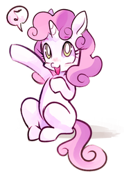 Size: 600x840 | Tagged: dead source, safe, artist:ghostier, sweetie belle, pony, unicorn, blank flank, cute, diasweetes, female, filly, music notes, open mouth, pictogram, simple background, sitting, solo, speech bubble, white background