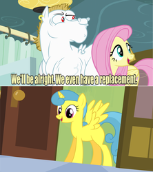 Size: 641x721 | Tagged: safe, edit, edited screencap, screencap, bulk biceps, fluttershy, lemon hearts, alicorn, pony, rainbow falls, alicornified, blank flank, lemoncorn, meme, princess blank flank, race swap, replacement meme